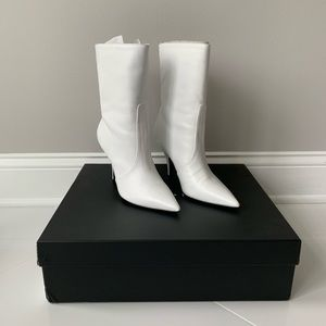White Leather Pointed Toe Small Heel Boot